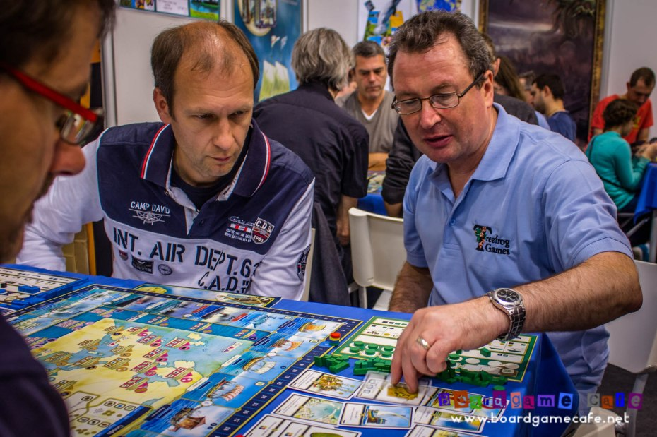 Martin Wallace teaching SHIPS at Essen Spiel 2015